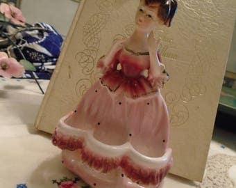 Lipstick Holder Porcelain Doll  Pink Long Dress Brown Hair