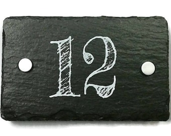 Slate House Number Double