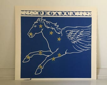 1935 CONSTELLATION VINTAGE LITHOGRAPH - pegasus - original vintage print - key stars of the sky - celestial sphere