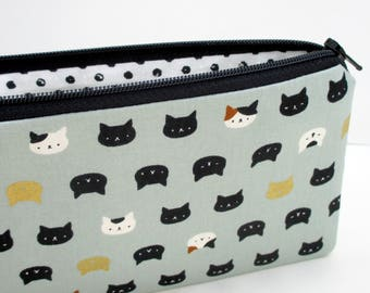 Long Zipper Pencil Pouch,  Cat Faces,Cute Japanese Metallic, Gray Zippered Bag