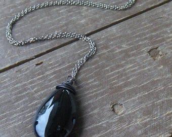 SALE The Noir Necklace. Enchanting Black Crystal Pendant necklace
