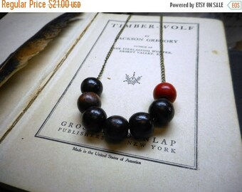 SALE Red Clay & Earth. Wooden Bead Boho Urban Rustic Minimalist necklace. Fall Autumn Fashion Jewelry Wood Beaded Organic necklace