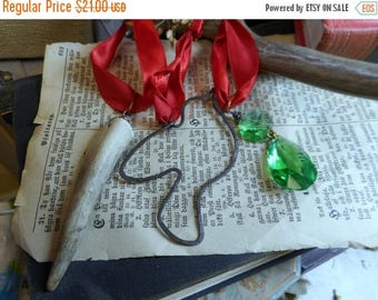 SALE Rustic Christmas Ornaments Genuine Deer Antler Vintage Kelly Green Chandelier Crystal & rusty Bird frame silhouette all on Red satin ri