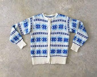 hand made vintage blue fair isle cardigan - 1211474