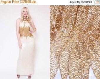 25% OFF Vtg 90s Stunning Sequin Flower White Gold Baroque Trophy Halter Evening Gown Prom Dress L
