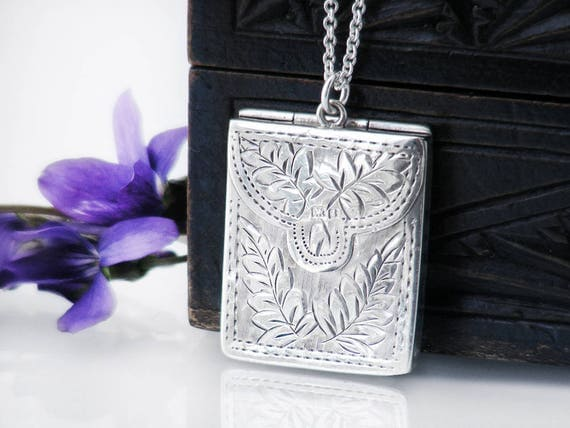 Antique Sterling Silver Locket | 1905 Edwardian Envelope Locket | Forget-Me-Not & Ferns Silver Stamp Case, English Hallmarks - 20 Inch Chain