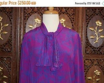 ON SALE 1960s Nat Kaplan Couture Silk Floral Print Shift Dress Sz 12