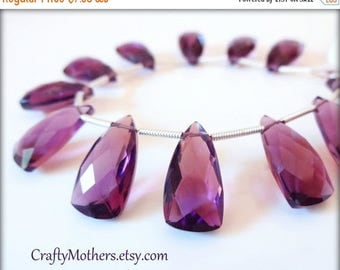 8% off SHOP-WIDE, AAA Amethyst Purple Hydro Quartz Faceted Pyramid Briolettes, (1) Matched Pair, 9mm x 16mm, violet, bridal