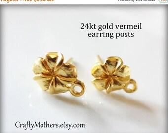 8% off SHOP-WIDE, ONE Pair Bali 24kt Gold Vermeil Plumeria Flower Earring Posts, 10mm x 7.6mm, 2 pcs, Artisan-made