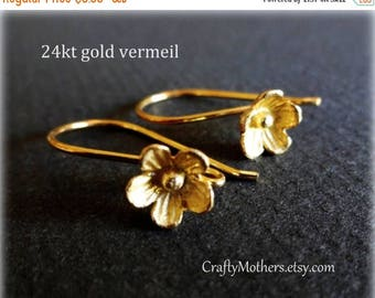 8% off SHOP-WIDE, Bali 24kt Gold Vermeil Large Flower Ear Wires, 25mm x 15mm, artisan-made supplies - SELECT a quantity