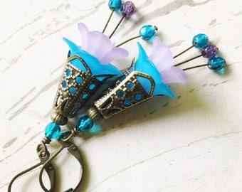 Turquoise Purple Flower Earrings Lucite Enchanted Faerie Apsara by MinouBazaar