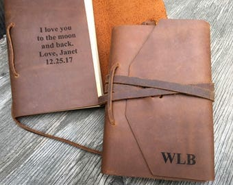 Custom Leather Journal Notebook, Monogrammed Rustic Personalized Sketchbook, Travel Journal Diary, Boyfriend Gift, Husband Gift, Initials
