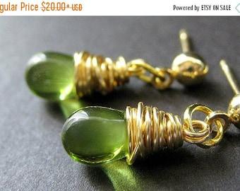 BACK to SCHOOL SALE Green Earrings: Wire Wrapped Earrings. Gold Post Earrings. Handmade Jewelry by Gilliauna