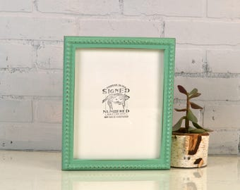 """8x10"""" Picture Frame in 1x1 Decorative Bumpy Style with Vintage Robin's Egg Finish - IN STOCK - Same Day Shipping - 8 x 10"""" Photo Frame"""
