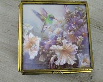 Vintage Trinket Nick Nack Box Glass and Brass Hand Painted Hummingbird