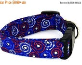 ON SALE American Swirls Red White and Blue Swirls with Silver Glitter Stars Dog Collar July 4th