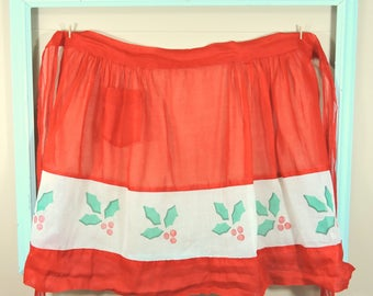 Vintage Christmas Apron / Red Christmas Apron / Holly Berries Apron