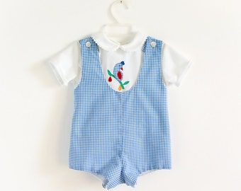 Vintage 1980s Toddler Size 12-18M Clothing Set Sylvia Whyte Romper and Short Sleeve Shirt VGC, Partridge In A Pear Tree Applique