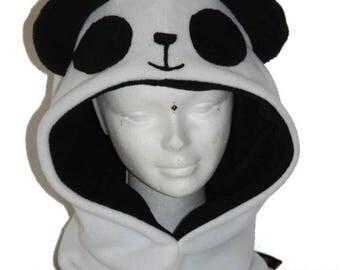 Panda black and white fleece Hoodie