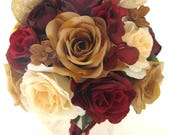 "Reserved listing 30 Piece Package Wedding Bouquets Bridal Bouquet Wedding Silk flower BURGUNDY Wine Dusty ROSE Cream ""RosesandDreams"""