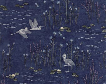 Holly Taylor Fabric Blue Birds Woodland Quilts Summer on the Pond Fabric by the Yard Cotton Quilting Sewing Fabrics