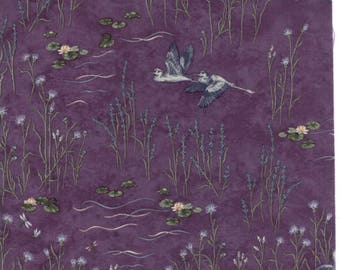Holly Taylor Fabric Purple Birds Woodland Quilts Summer on the Pond Fabric by the Yard Cotton Quilting Sewing Fabrics