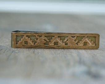 Vintage Aztec Guatemala Gold Filled Tie Clip . Tie Clips . Unique Design .800 Silver