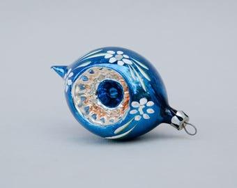 Vintage Christmas Glass Ornament Indent . Blue & Silver  . Vintage Indent