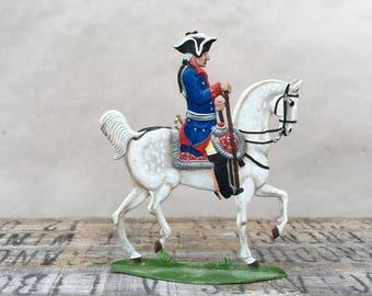 Vintage Metal Painted Soldier . Pewter . Horse & Soldier . Hand Painted