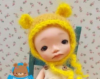 Mohair mustard and yellow bear hat, Irrealdoll, Pukifee, Lati Yellow, Mui Chan