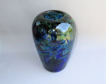 Hand Blown Art Glass  Vase , Cobalt Blue and  Forest Green Color.