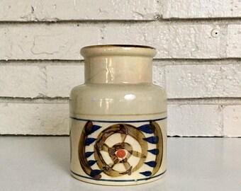 ON SALE Vintage Japanese Asian Hand Painted Stoneware Pottery Ceramic Vase Jug // Nagoya Stoneware