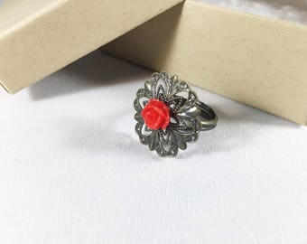Red Rose Ring, Statement Ring, Adjustable Ring, Vintage Ring, Bronze Ring, Filigree Ring, Vintage Inspired, Gift for Her