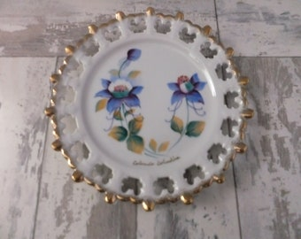 Vintage State Plate Colorado Columbine Flower with Cutout Gold Rim Souvenir Collector Retro Travel Decor Norcrest Japan