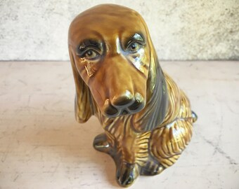 Vintage ceramic long ear spaniel dog statue gifts for dog lover kitsch figurine
