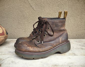 Rare Dr Martens boots no stitching UK Size 5.5 US Women Size 7.5 brown leather Doc Martens six eyelet boot, women combat boot, vintage Docs
