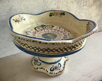 Old Mexican pottery vintage Tlaquepaque pedestal fruit bowl rustic home decor