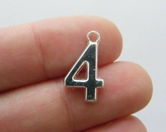 BULK 50 Number 4 charms 18 x 10mm silver plated