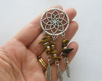 1 Dream catcher brown stones charm antique silver tone M875