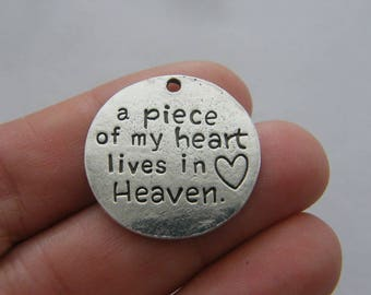 4 a piece of my heart lives in heaven charms antique silver tone M877