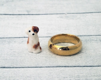 Micro Miniature ceramic dog figurine suit terrarium or dollhouse sideboard ornament handcrafted tiny brown and white dog figurine / mini dog