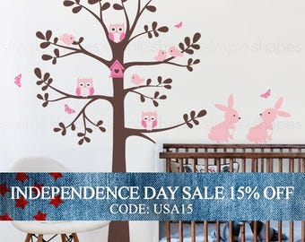 Independence Day Sale - Tree wall decal with animals - Owl Rabbit Bird Tree Wall Decal - Shelving tree decal - wall decal - baby nursery