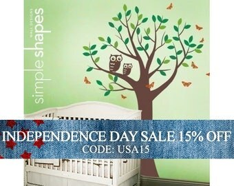 Independence Day Sale - Tree with Two Owls and Butterflies Decal Set - Boy and Girl Kid's Room Wall Sticker