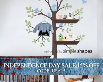 Independence Day Sale - Tree Wall Decal - Shelving Tree Decal with Birds - Three Colors