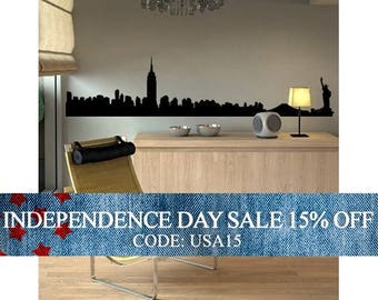 Independence Day Sale - NYC Manhattan Skyline Decal - Vinyl Wall Sticker