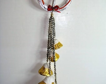 Vintage Mercury Glass Beads Foil and Paper Mache Wreath and Bells 1920's-30's