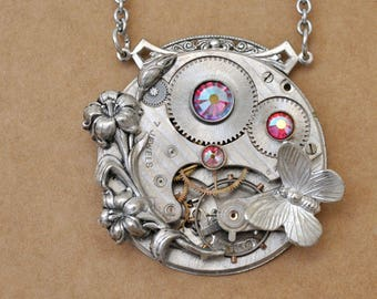 steampunk necklace LOVE TAKES TIME antique American Waltham watch movement necklace with Iris and pink rhinestones