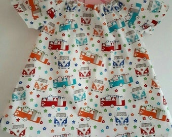 Handmade 100% Cotton GIRLS Spring Summer DRESS bright colourful VW Style Campervans + flowers design on white fabric loose fit 0-3 m 3-6 m