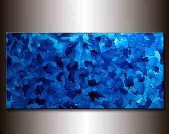 Original Large Blue Abstract Painting Modern Fine Art Painting Ready to Hang 48x24 by Henry Parsinia