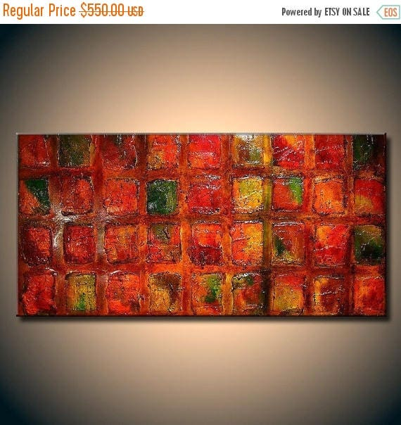 Abstract Painting, Original Large Multicolored Thick Texture Modern Art Ready to Hang  by Henry Parsinia 48x24